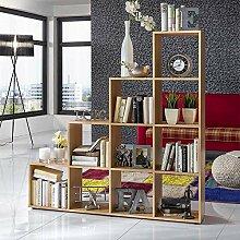 Pharao24 Bücherregal im Treppen Design Buche Dekor