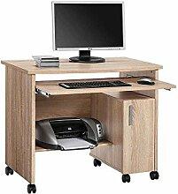 Pharao24 Computertisch mit Rollen Druckerfach