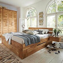 Pharao24 Doppelbett aus Wildeiche Massivholz