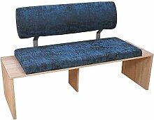 Pharao24 Esszimmer Sitzbank in Blau Stoff Eiche