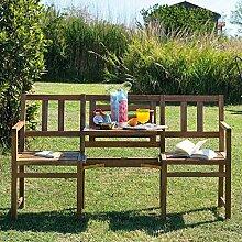 Pharao24 Gartenbank mit Tisch Akazie Massivholz