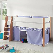Pharao24 Halbhohes Kinderbett mit Vorhang in Blau