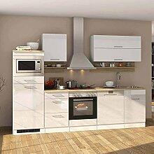 Pharao24 Hochglanz Küchenblock in Weiß Eiche