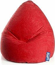 Pharao24 Kinder Sitzsack Marrone in Rot Breite 70 cm Höhe 70 cm Tiefe 90 cm Größe M (ca. 120 Liter)