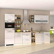 Pharao24 Küchen Einrichtung mit E-Geräten Hochglanz Weiß Eiche Sonoma (13-Teilig)