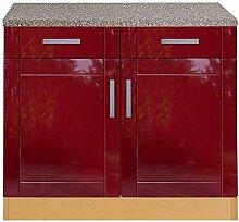 Pharao24 Küchen Unterschrank rot buche 100 Chicago