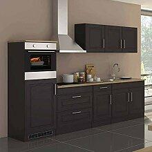 Pharao24 Küchenblock mit E-Geräten Grau Eiche