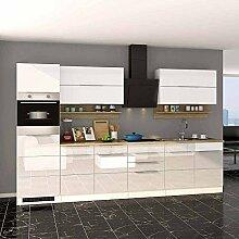Pharao24 Küchenzeile in Weiß Hochglanz Eiche Sonoma E-Geräte (10-Teilig)