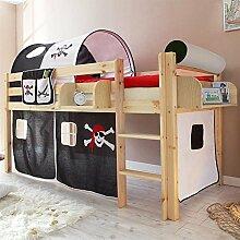 Pharao24 Piraten Kinderbett mit Tunnel und Vorhang Schwarz Weiß Hängeregal Ja
