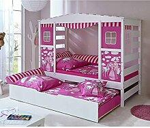 Pharao24 Prinzessin Bett mit Ausziehbett Weiß Rosa