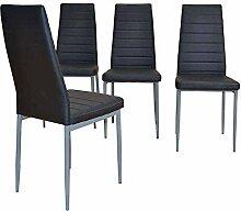 Pharao24 Stuhl Set in Schwarz Kunstleder Günstig kaufen (4er Set)