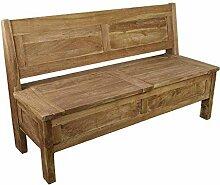Pharao24 Truhenbank aus Teak Massivholz naturbelassen Breite 120 cm 2 Sitzplätze
