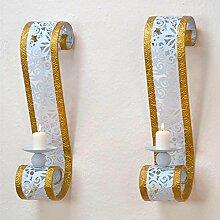 Pharao24 Wandhalter für Kerzen Weiß Gold