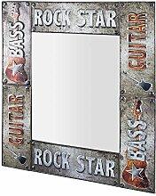 Pharao24 Wandspiegel mit Metallrahmen Rock Style