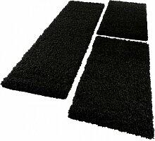 PHC Bettumrandung Läufer Shaggy Hochflor Langflor Teppich in Schwarz Läuferset 3 Tlg, Grösse:2mal 70x140 1mal 70x250