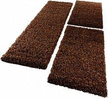 PHC Bettumrandung Läufer Shaggy Hochflor Langflor Teppich in Braun Läuferset 3Tlg, Grösse:2mal 70x140 1mal 70x250