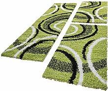PHC Bettumrandung Läufer Shaggy Hochflor Teppich Gemustert Grün Läuferset 3 Tlg, Grösse:2mal 70x140 1mal 70x250