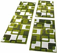 PHC Bettumrandung Läufer Teppich Retro Design Grün GrauLäuferset 3 Tlg, Grösse:2mal 60x100 1mal 70x250