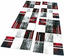 PHC Bettumrandung Teppich Läufer Marmor Optik Karo Rot Grau Schwarz Läuferset 3 Tlg, Grösse:2mal 60x110 1mal 80x300