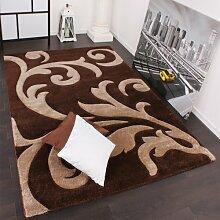 PHC Designer Teppich Festival mit Konturenschnitt Muster Braun Beige Brown Creme, Grösse:80x300 cm