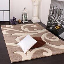 PHC Designer Teppich mit Konturenschnitt Modern Beige Creme, Grösse:200x290 cm