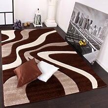 PHC Designer Teppich mit Konturenschnitt Wellen Muster Braun Beige Creme, Grösse:160x230 cm