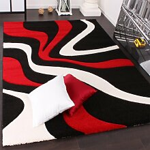 PHC Designer Teppich mit Konturenschnitt Wellen Muster Rot Schwarz Weiss, Grösse:80x300 cm