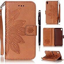Pheant® [2 in 1] Sony Xperia XA Hülle Tasche Sonnenblume Prägemuster Design in Braun Folio Schutzhülle aus PU Leder Silikonhülle mit Standfunktion,Kartenfach und Magnetverschluss + Stif