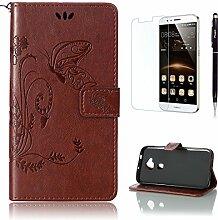 Pheant® [3 in 1] Huawei G8/GX8 Hülle Tasche aus PU Leder Schmetterling Prägemuster Design mit Panzerfolie und Eingabestift(Braun)