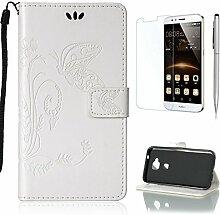 Pheant® [3 in 1] Huawei G8/GX8 Hülle Tasche aus PU Leder Schmetterling Prägemuster Design mit Panzerfolie und Eingabestift(Weiß)
