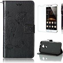 Pheant® [3 in 1] Huawei G8/GX8 Hülle Tasche aus PU Leder Schmetterling Prägemuster Design mit Panzerfolie und Eingabestift(Schwarz)