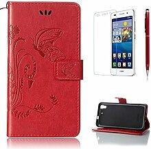 Pheant® [3 in 1] Huawei Y6(5 Zoll) Hülle Tasche aus PU Leder Schmetterling Prägemuster Design mit Panzerfolie und Eingabestift(Rot)