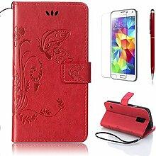 Pheant® [3 in 1] Samsung Galaxy S5 Hülle Tasche aus PU Leder Schmetterling Prägemuster Design mit Panzerfolie und Eingabestift(Rot)