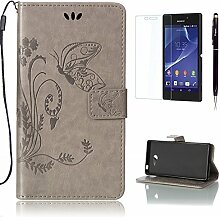 Pheant® [3 in 1] Sony Xperia M2 Aqua Hülle Tasche aus PU Leder Schmetterling Prägemuster Design mit Panzerfolie und Eingabestift(Grau)