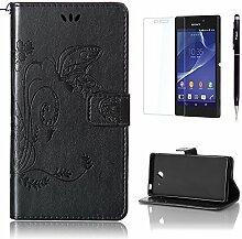 Pheant® [3 in 1] Sony Xperia M2 Aqua Hülle Tasche aus PU Leder Schmetterling Prägemuster Design mit Panzerfolie und Eingabestift(Schwarz)
