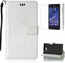 Pheant® [3 in 1] Sony Xperia M2 Aqua Hülle Tasche aus PU Leder Schmetterling Prägemuster Design mit Panzerfolie und Eingabestift(Weiß)