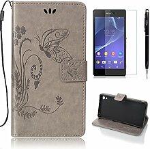 Pheant® [3 in 1] Sony Xperia Z2 Hülle Tasche aus PU Leder Schmetterling Prägemuster Design mit Panzerfolie und Eingabestift(Grau)