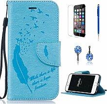Pheant® [4in 1] Apple iPhone 6/6S (4.7 Zoll) Hülle Schutzhülle Tasche aus PU Leder Feder Prägemuster Design mit Panzerfolie Eingabestift und Kristall Staub Stecker(Hellblau)