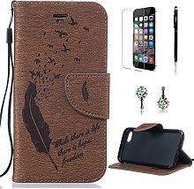 Pheant® [4in 1] Apple iPhone 7 Hülle Schutzhülle Tasche aus PU Leder Feder Prägemuster Design mit Panzerfolie Eingabestift und Kristall Staub Stecker(Braun)