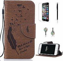 Pheant® [4in 1] Apple iPhone SE/5S/5 Hülle Schutzhülle Tasche aus PU Leder Feder Prägemuster Design mit Panzerfolie Eingabestift und Kristall Staub Stecker(Braun)