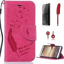 Pheant® [4in 1] Huawei Mate 8 Hülle Schutzhülle Tasche aus PU Leder Feder Prägemuster Design mit Panzerfolie Eingabestift und Kristall Staub Stecker(Rose Rote)