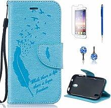 Pheant® [4in 1] Huawei Y625 Hülle Schutzhülle Tasche aus PU Leder Feder Prägemuster Design mit Panzerfolie Eingabestift und Kristall Staub Stecker(Hellblau)