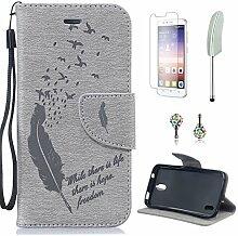 Pheant® [4in 1] Huawei Y625 Hülle Schutzhülle Tasche aus PU Leder Feder Prägemuster Design mit Panzerfolie Eingabestift und Kristall Staub Stecker(Grau)