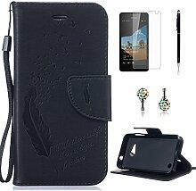 Pheant® [4in 1] Microsoft Lumia 550 Hülle Schutzhülle Tasche aus PU Leder Feder Prägemuster Design mit Panzerfolie Eingabestift und Kristall Staub Stecker(Schwarz)