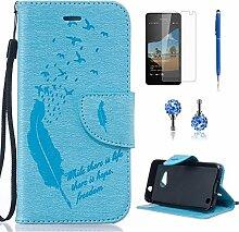 Pheant® [4in 1] Microsoft Lumia 550 Hülle Schutzhülle Tasche aus PU Leder Feder Prägemuster Design mit Panzerfolie Eingabestift und Kristall Staub Stecker(Hellblau)