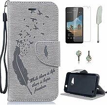 Pheant® [4in 1] Microsoft Lumia 550 Hülle Schutzhülle Tasche aus PU Leder Feder Prägemuster Design mit Panzerfolie Eingabestift und Kristall Staub Stecker(Grau)