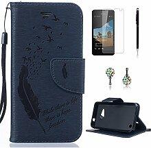 Pheant® [4in 1] Microsoft Lumia 550 Hülle Schutzhülle Tasche aus PU Leder Feder Prägemuster Design mit Panzerfolie Eingabestift und Kristall Staub Stecker(Dunkelblau)
