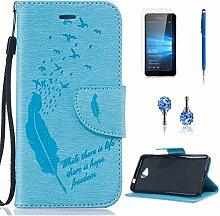 Pheant® [4in 1] Microsoft Lumia 650 Hülle Schutzhülle Tasche aus PU Leder Feder Prägemuster Design mit Panzerfolie Eingabestift und Kristall Staub Stecker(Hellblau)