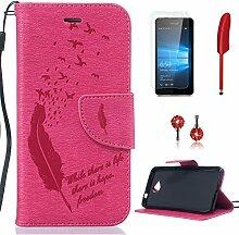 Pheant® [4in 1] Microsoft Lumia 650 Hülle Schutzhülle Tasche aus PU Leder Feder Prägemuster Design mit Panzerfolie Eingabestift und Kristall Staub Stecker(Rose Rote)
