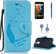 Pheant® [4in 1] Motorola Moto G4 Hülle Schutzhülle Tasche aus PU Leder Feder Prägemuster Design mit Panzerfolie Eingabestift und Kristall Staub Stecker(Hellblau)